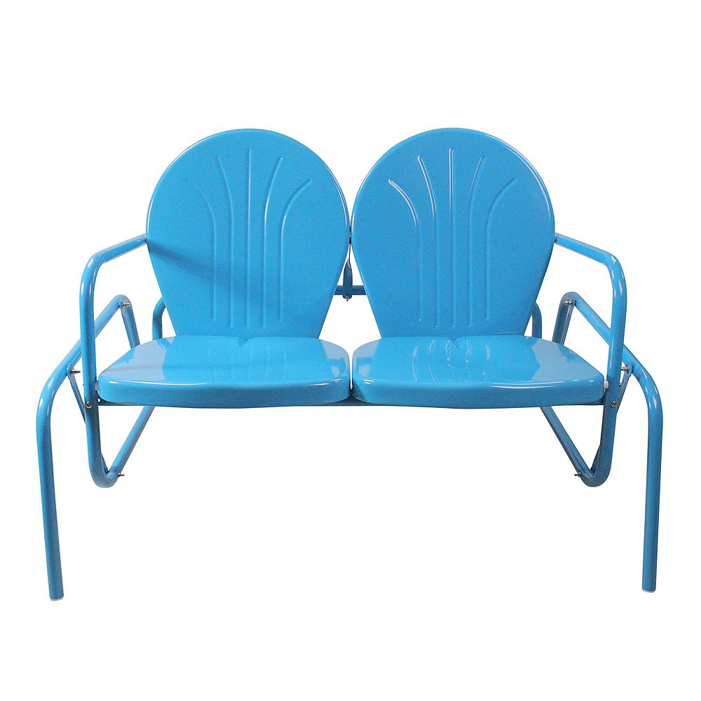 Northlight 47-Inch Outdoor Retro Tulip Double Glider Chair  Turquoise Blue