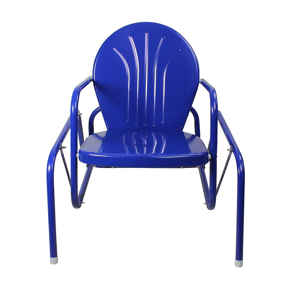 Northlight 32-Inch Outdoor Retro Metal Tulip Single Glider  Blue