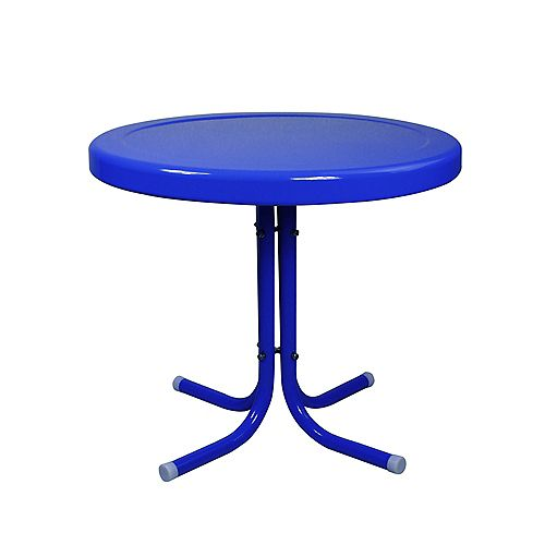 21.75-Inch Outdoor Retro Metal Tulip Side Table  Blue