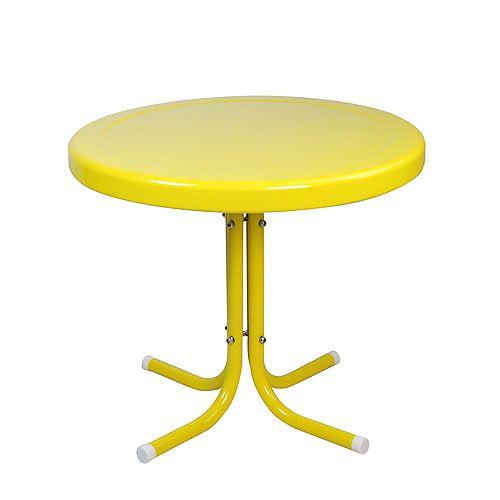 Table d'appoint tulipe en métal rétro 21,75 pouces jaune