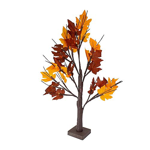 2' Pre-Lit LED Brown Maple Artificial Christmas Tree- Clear Lights