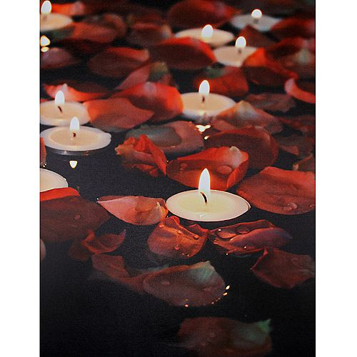 "White Tea Light and Rose Petal LED Flickering Canvas Wall Art 15.75"" x 11.75"""
