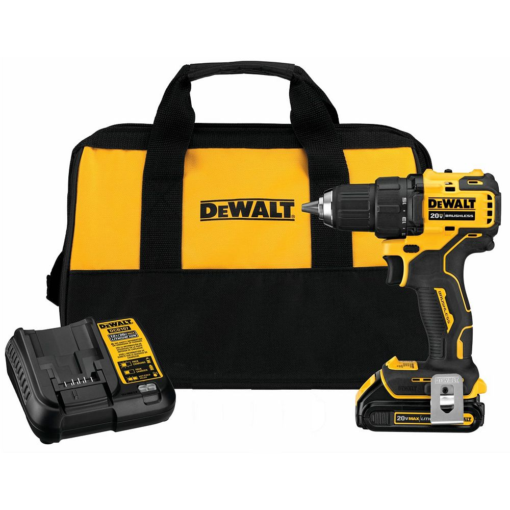 DEWALT ATOMIC 20V MAX Lithium-Ion Brushless Cordless Compact 1/2-inch Drill Driver w/ Battery, Charger & Bag