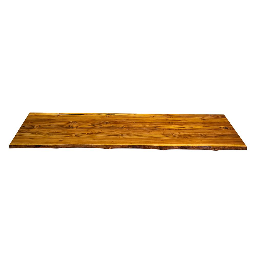 INTERBUILD 87x 25x1.18 inch Teak Countertop Live Edge One Side Clear Natural Finish