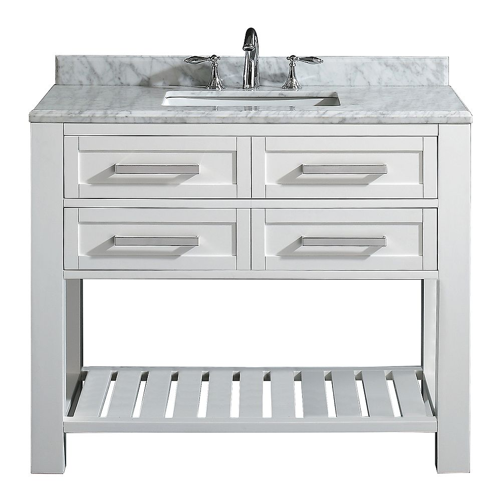 Ove Pedro 42 inch Vanity in White with Carrara Marble Countertop and White Basin
