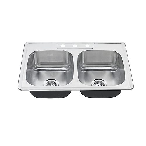 Colony 27x20 Top Mount Double Bowl Kitchen Sink