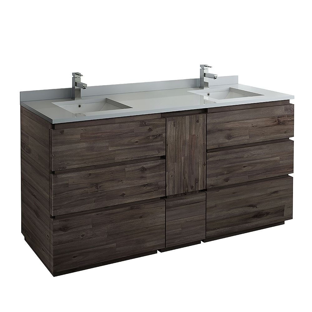 Fresca Formosa 72 inch Freestanding Double Bathroom Vanity in Acacia With Quartz Stone Top in White