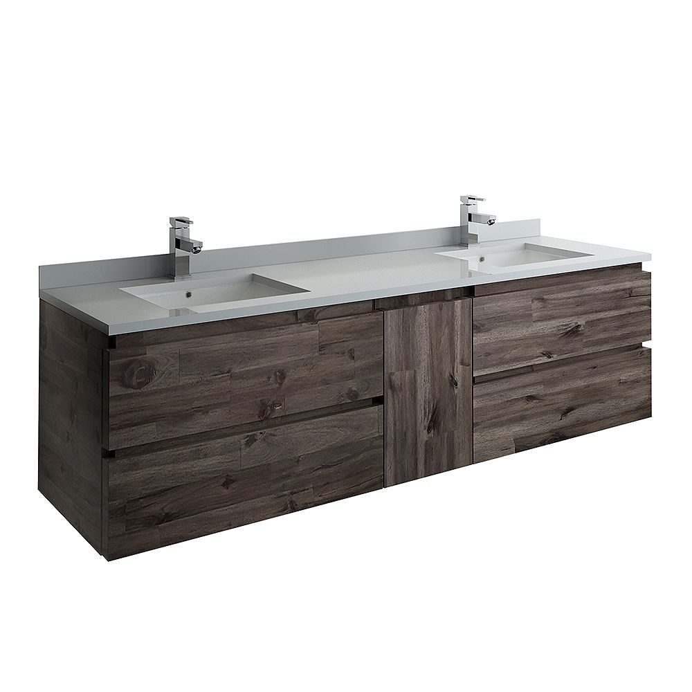 Fresca Formosa 72 inch Wall Hung Double Bathroom Vanity in Acacia With Quartz Stone Top in White