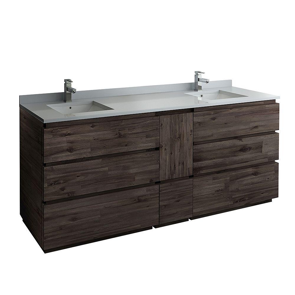 Fresca Formosa 84 inch Freestanding Double Bathroom Vanity in Acacia With Quartz Stone Top in White