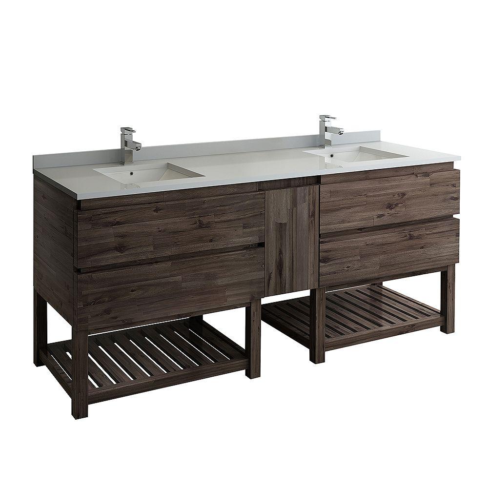 Fresca Formosa 84 inch Freestanding Open Bottom Double Bathroom Vanity in Acacia, Quartz Stone Top in White