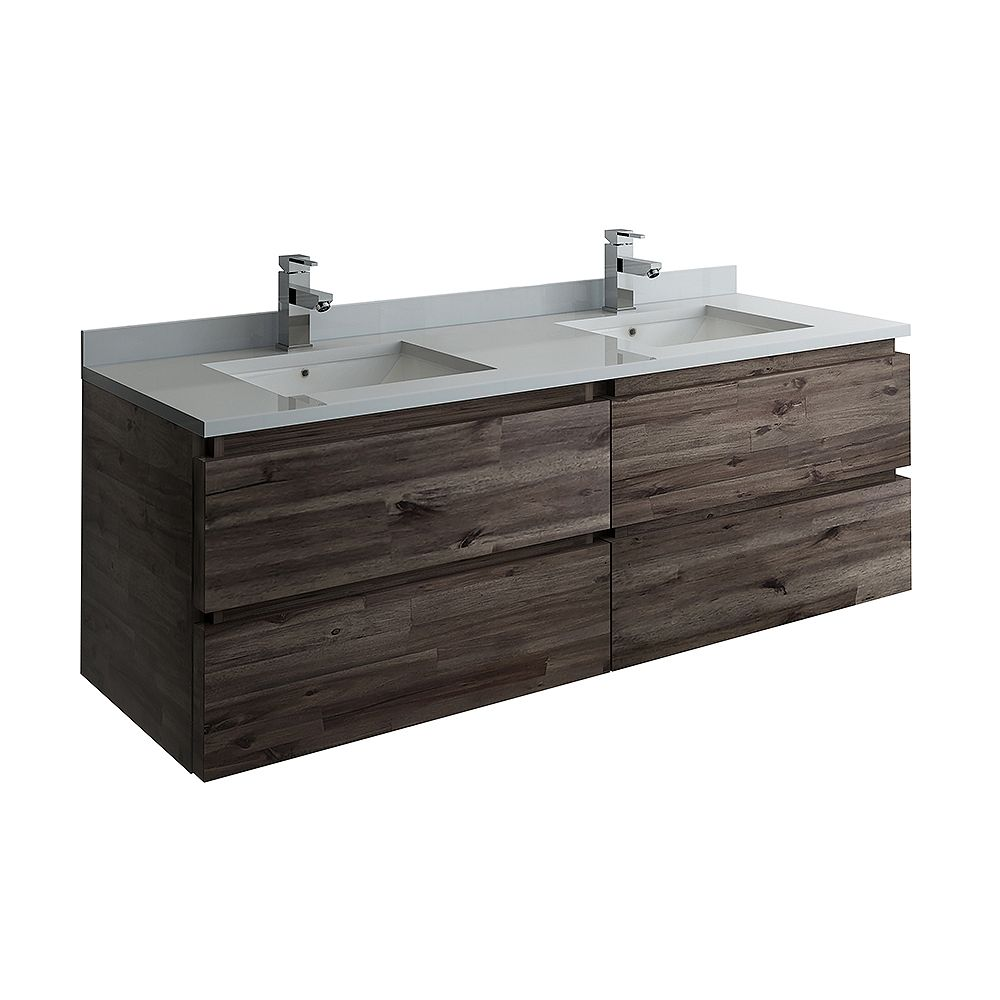 Fresca Formosa 58 inch Wall Hung Double Vanity Only in Acacia