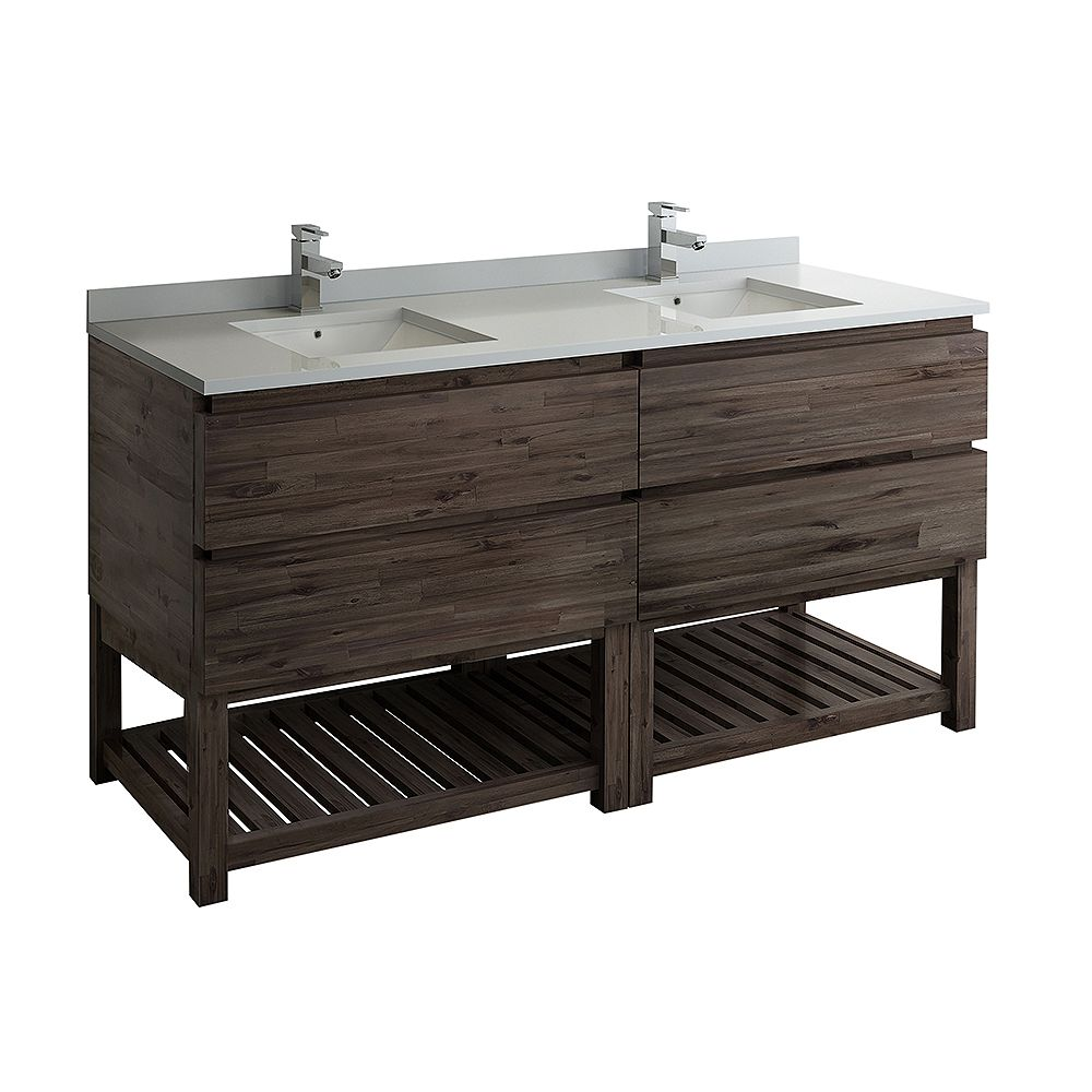 Fresca Formosa 70 inch Freestanding Open Bottom Double Vanity Only in Acacia