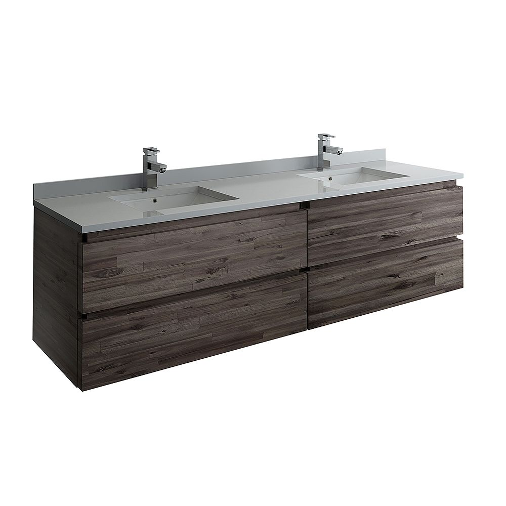 Fresca Formosa 70 inch Wall Hung Double Vanity Only in Acacia
