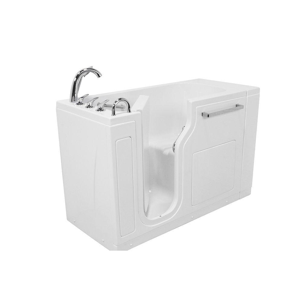 Ella S-Class 53 inch x 28 inch Walk-In Soaking Bathtub in White, LHS Door, Fast Fill Faucet, LHS Drain