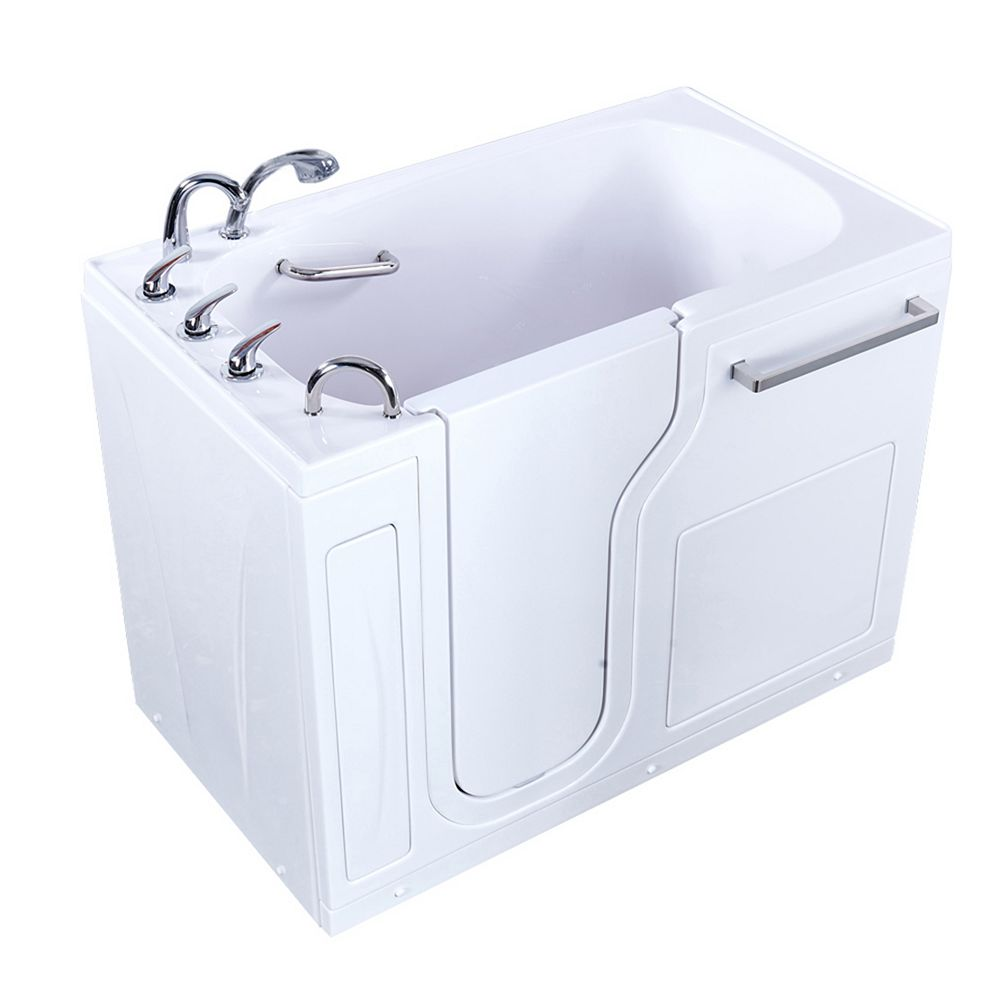 Ella S-Class 52 inch x 30 inch Walk-In Soaking Bathtub in White, LHS Door, Fast Fill Faucet, LHS Drain