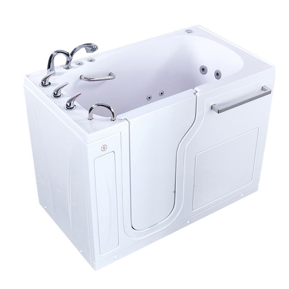 Ella S-Class 52 inch Walk-In Whirlpool and Air Bath Bathtub in White, LHS Door/Drain, Heated Seat, Faucet
