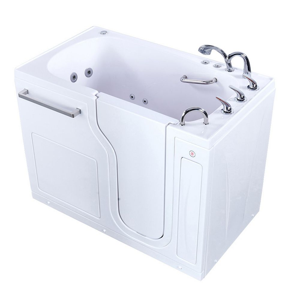 Ella S-Class 59 inch Walk-In Whirlpool and Air Bath Bathtub in White, RHS Door/Drain, Heated Seat, Faucet