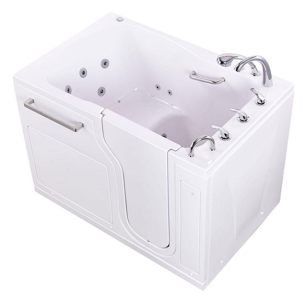 Ella S-Class 55 inch Walk-In Whirlpool and Air Bath Bathtub in White, RHS Door/Drain, Fast Fill Faucet