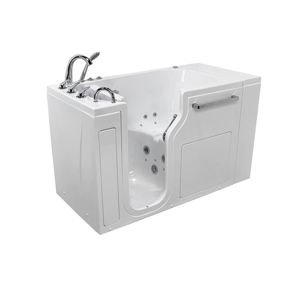 Ella S-Class 52 inch Low Threshold Walk-In Whirlpool and Air Bath Bathtub in White LHS/Door/Drain, Faucet