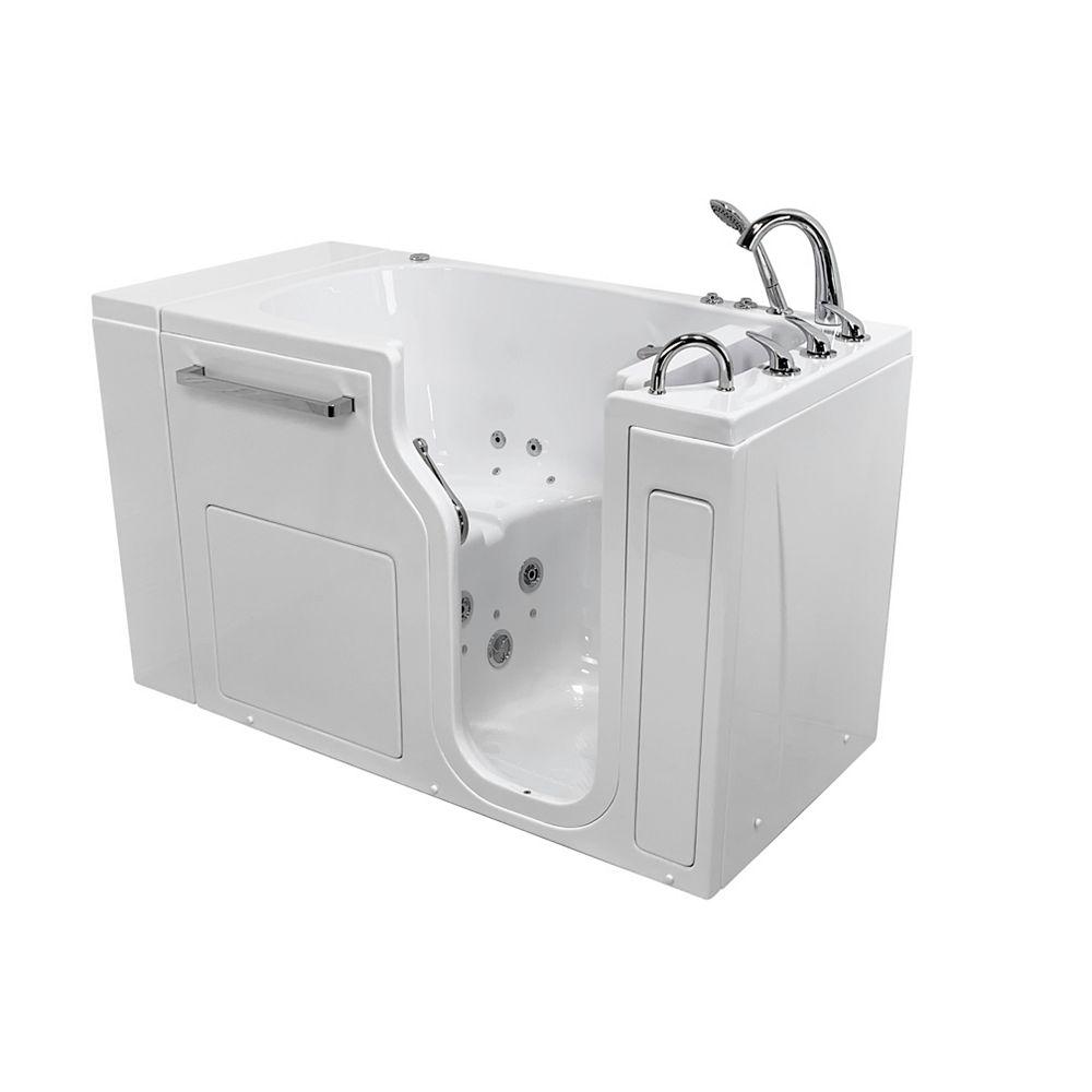 Ella S-Class 52 inch Low Threshold Walk-In Whirlpool and Air Bath Bathtub in White RHS/Door/Drain, Faucet