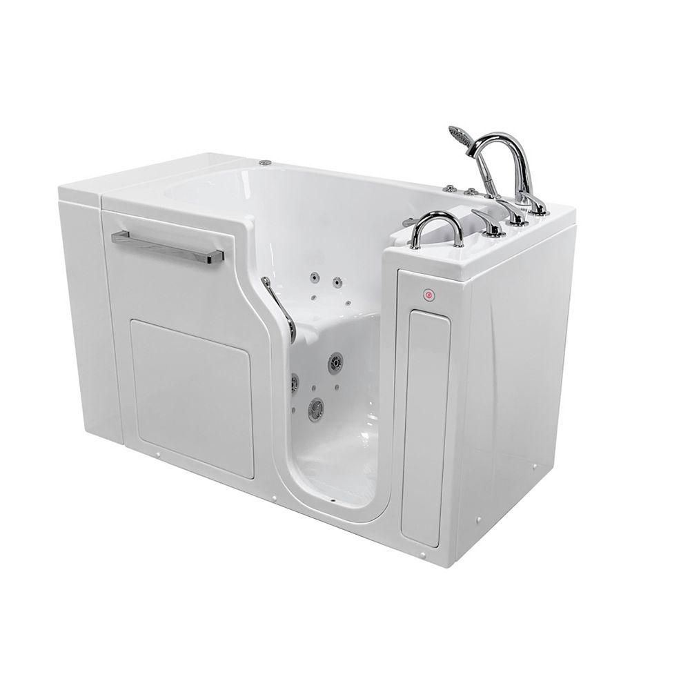 Ella S-Class 52 in. Low Threshold Walk-In Whirlpool/Air Bath Bathtub in White RH Door, Heated Seat,Faucet