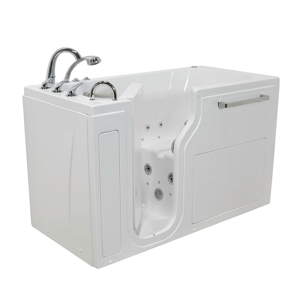 Ella S-Class 59 inch Low Threshold Walk-In Whirlpool and Air Bath Bathtub in White LHS/Door/Drain, Faucet