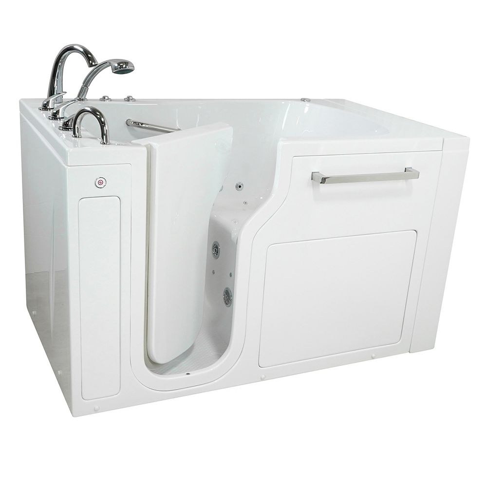 Ella S-Class 55 in. Low Threshold Walk-In Whirlpool/Air Bath Bathtub in White LH Door, Heated Seat,Faucet