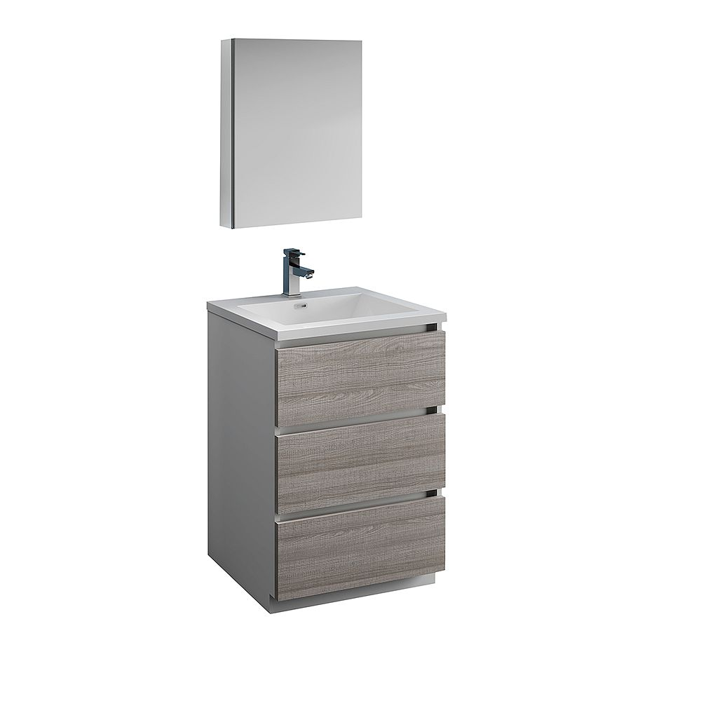 Fresca Lazzaro 24 in. Free Standing Bathroom Vanity in Glossy Ash Gray with Acrylic Sink , Medicine Cabinet