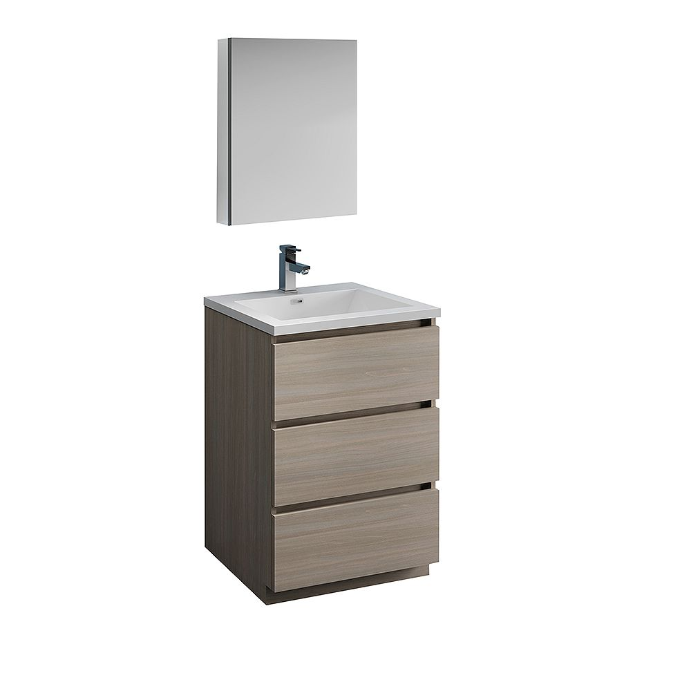 Fresca Lazzaro 24 inch Free Standing Bathroom Vanity in Gray Wood with Acrylic Sink and Medicine Cabinet
