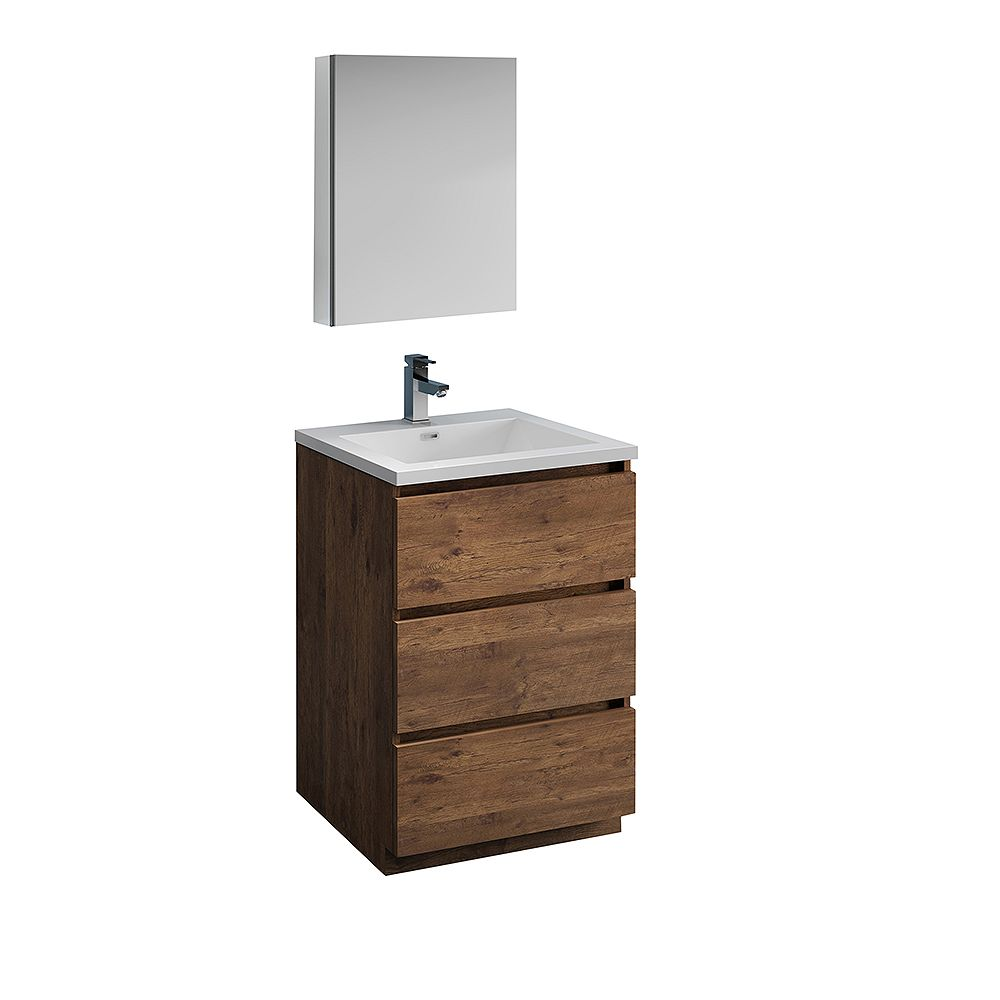 Fresca Lazzaro 24 inch Free Standing Bathroom Vanity in Rosewood with Acrylic Sink and Medicine Cabinet