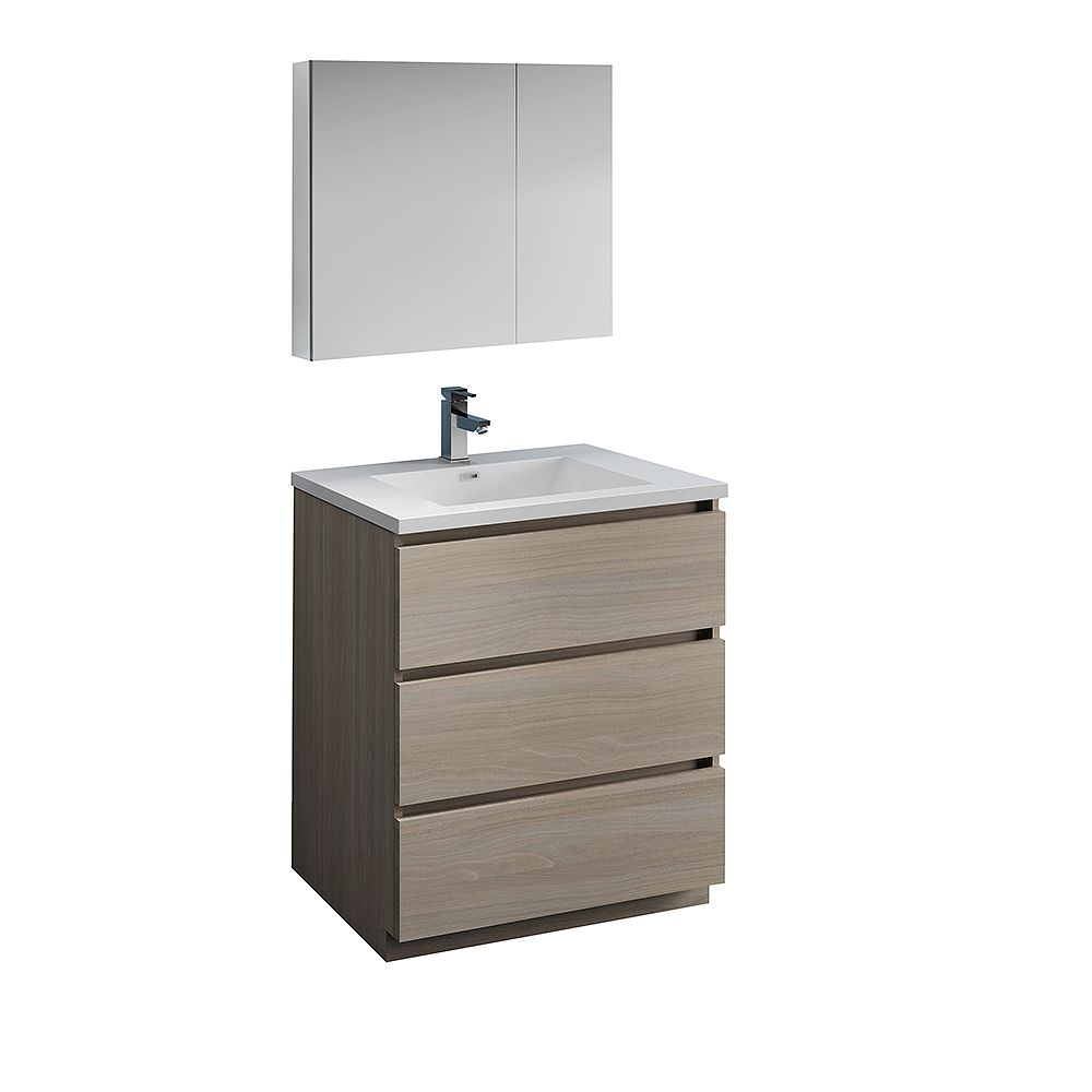 Fresca Lazzaro 30 inch Free Standing Bathroom Vanity in Gray Wood with Acrylic Sink and Medicine Cabinet