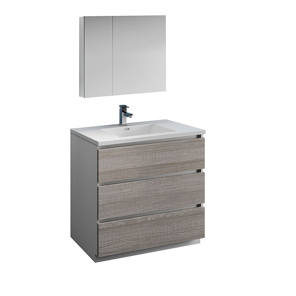 Fresca Lazzaro 36 in. Free Standing Bathroom Vanity in Glossy Ash Gray with Acrylic Sink , Medicine Cabinet