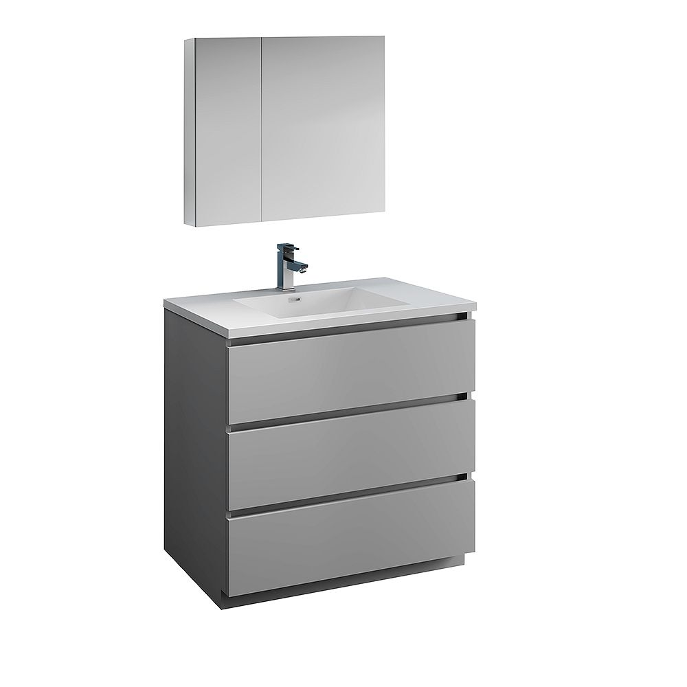 Fresca Lazzaro 36 inch Free Standing Bathroom Vanity in Gray with Acrylic Sink and Medicine Cabinet