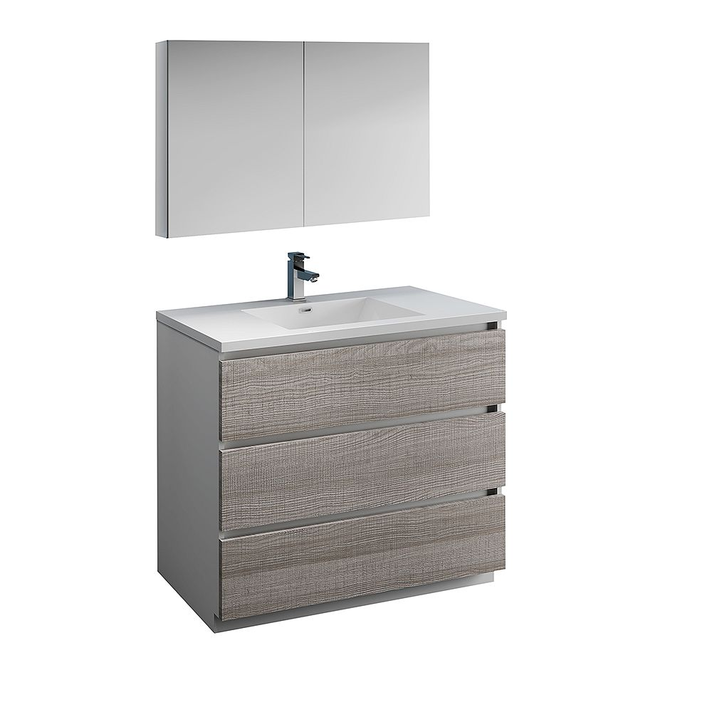 Fresca Lazzaro 40 in. Free Standing Bathroom Vanity in Glossy Ash Gray with Acrylic Sink , Medicine Cabinet