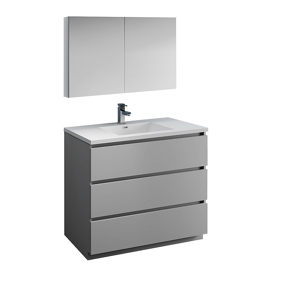 Fresca Lazzaro 40 inch Free Standing Bathroom Vanity in Gray with Acrylic Sink and Medicine Cabinet