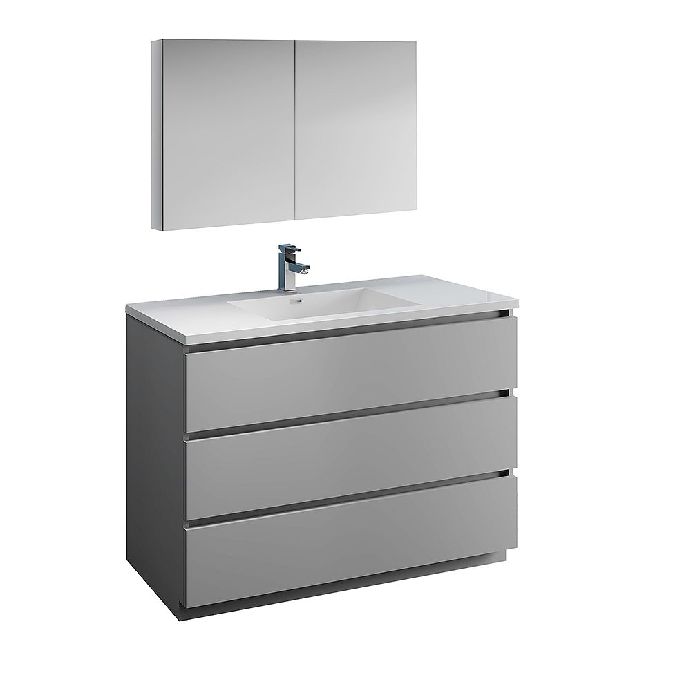 Fresca Lazzaro 48 inch Free Standing Bathroom Vanity in Gray with Acrylic Sink and Medicine Cabinet