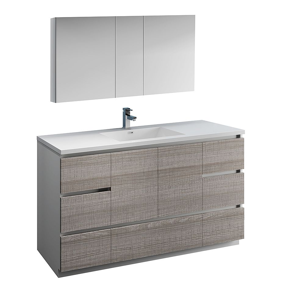 Fresca Lazzaro 60 in. Free Standing Bathroom Vanity in Glossy Ash Gray with Acrylic Sink , Medicine Cabinet