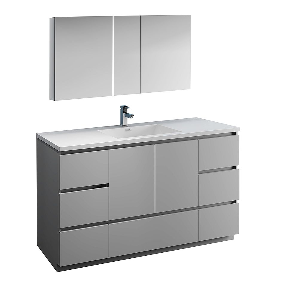 Fresca Lazzaro 60 inch Free Standing Bathroom Vanity in Gray with Acrylic Sink and Medicine Cabinet