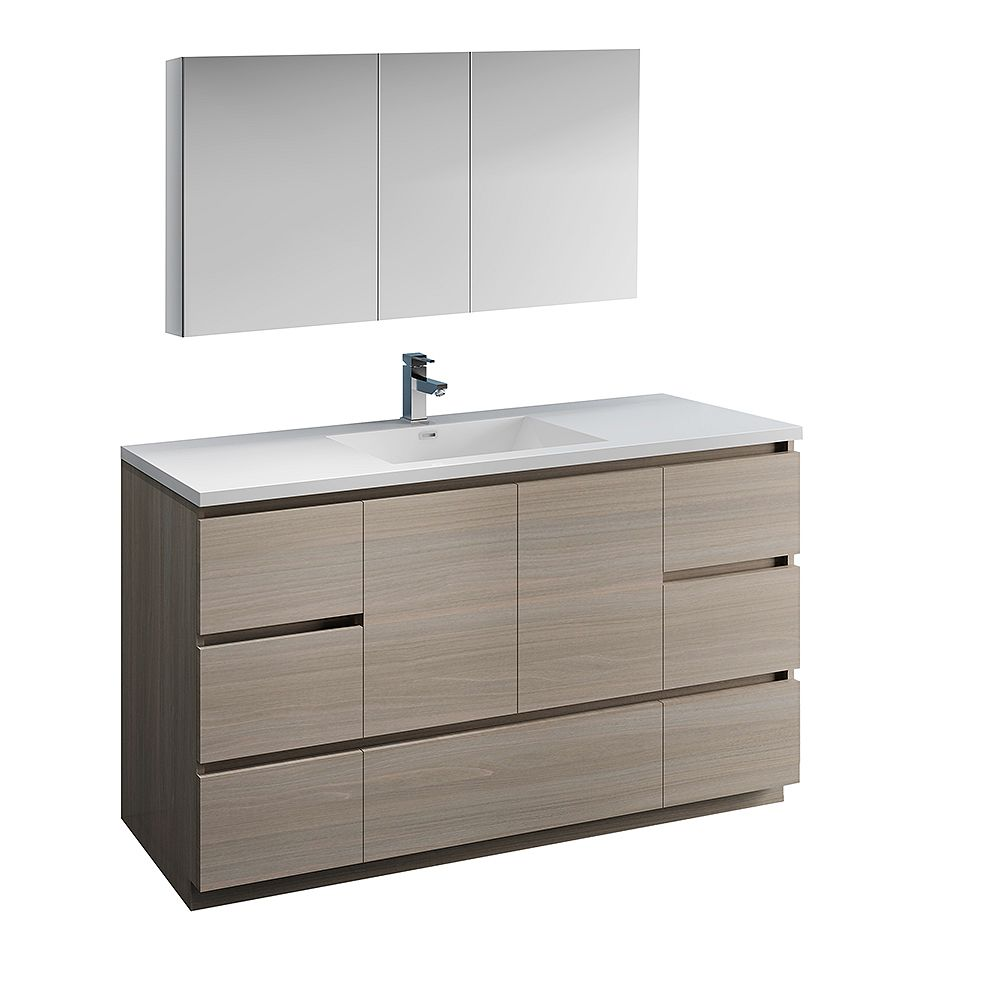 Fresca Lazzaro 60 inch Free Standing Bathroom Vanity in Gray Wood with Acrylic Sink and Medicine Cabinet