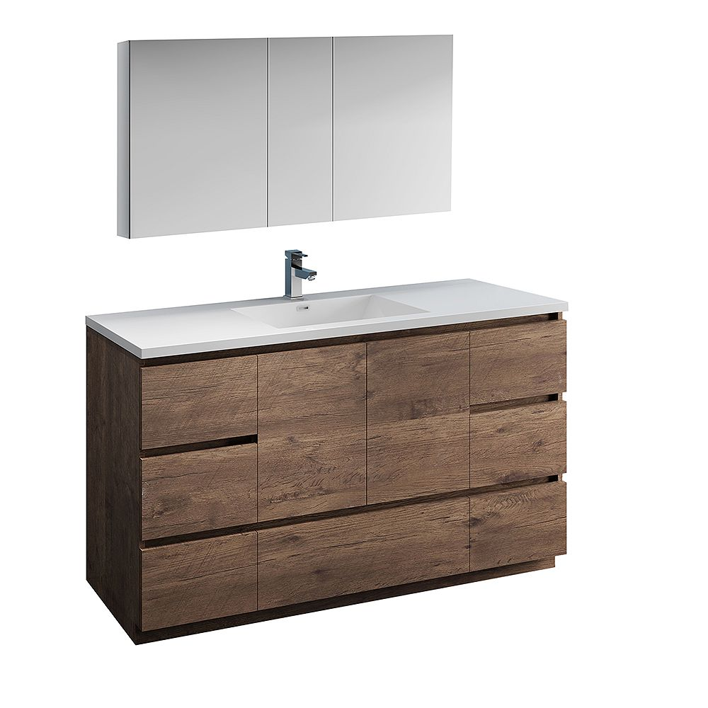 Fresca Lazzaro 60 inch Free Standing Bathroom Vanity in Rosewood with Acrylic Sink and Medicine Cabinet