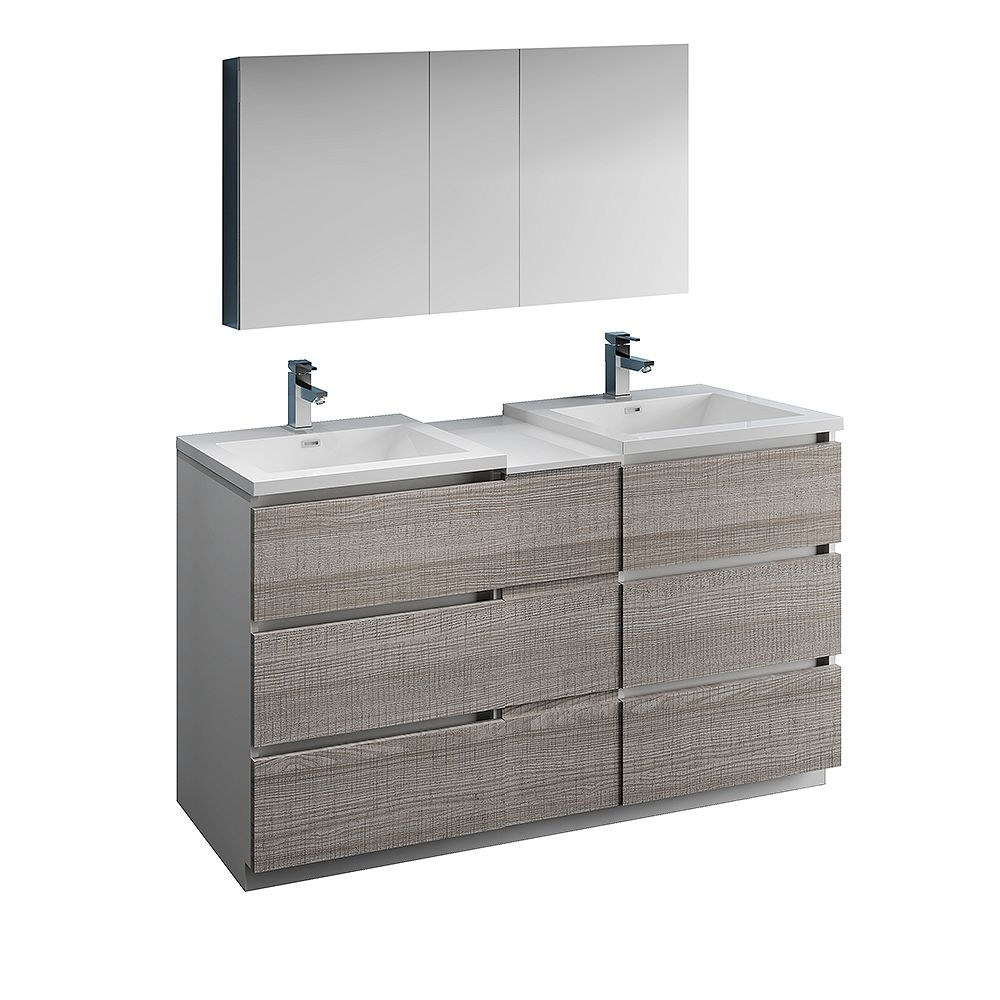 Fresca Lazzaro 60 inch Free Standing Double Vanity in Glossy Ash Gray with Top and Medicine Cabinet
