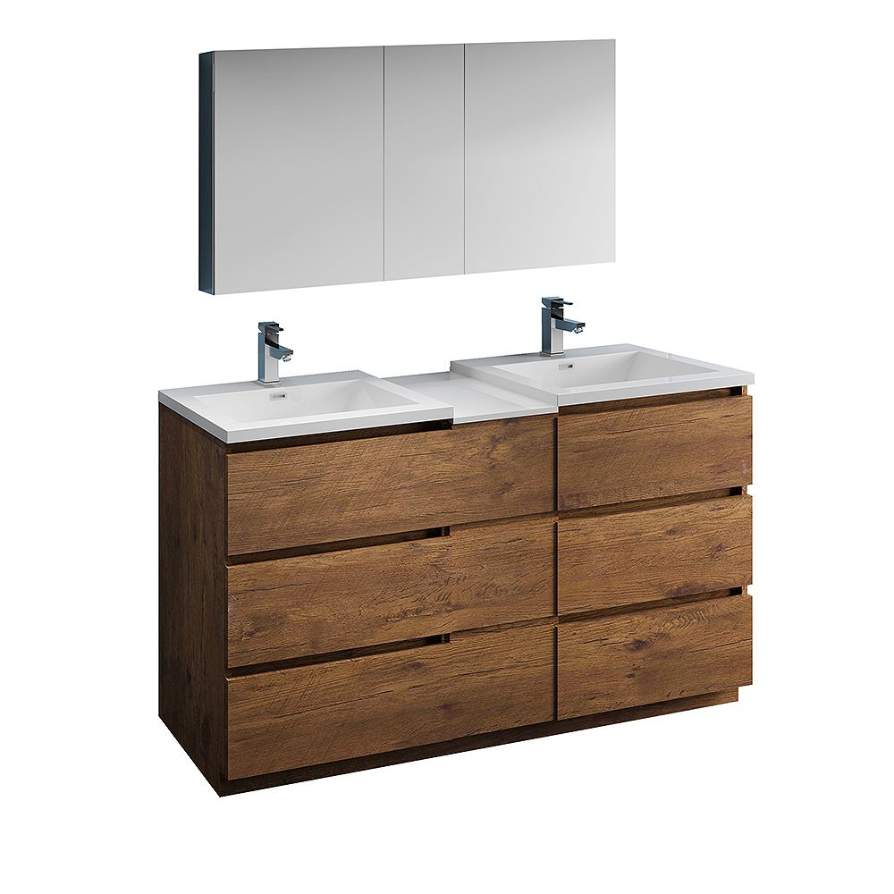 Fresca Lazzaro 60 inch Free Standing Double Vanity in Rosewood with Top and Medicine Cabinet