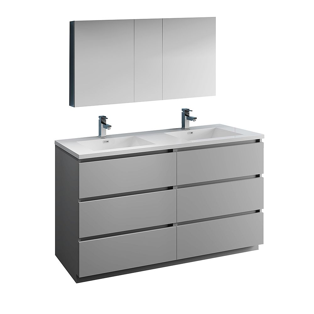 Fresca Lazzaro 60 inch Free Standing Double Vanity in Gray with Acrylic Sink and Medicine Cabinet