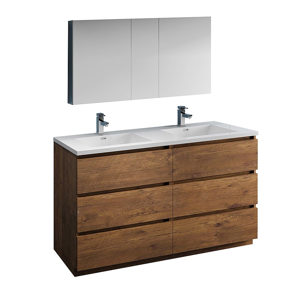 Fresca Lazzaro 60 inch Free Standing Double Vanity in Rosewood with Acrylic Sink, Medicine Cabinet