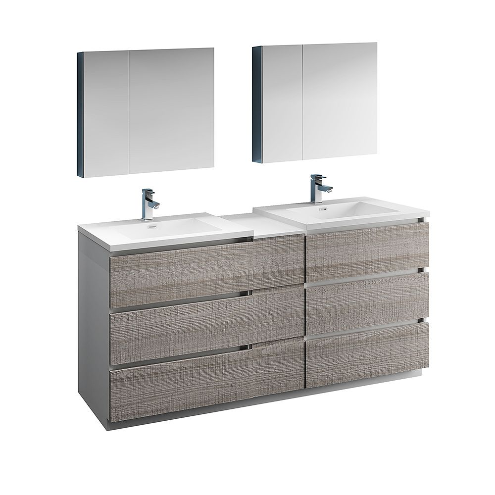Fresca Lazzaro 72 inch Free Standing Double Vanity in Glossy Ash Gray with Top and Medicine Cabinet
