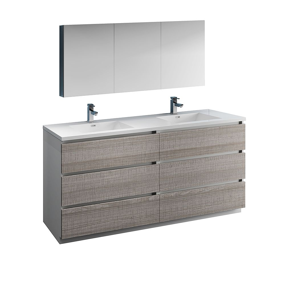 Fresca Lazzaro 72 inch Free Standing Double Vanity in Glossy Ash Gray with Acrylic Sink, Medicine Cabinet