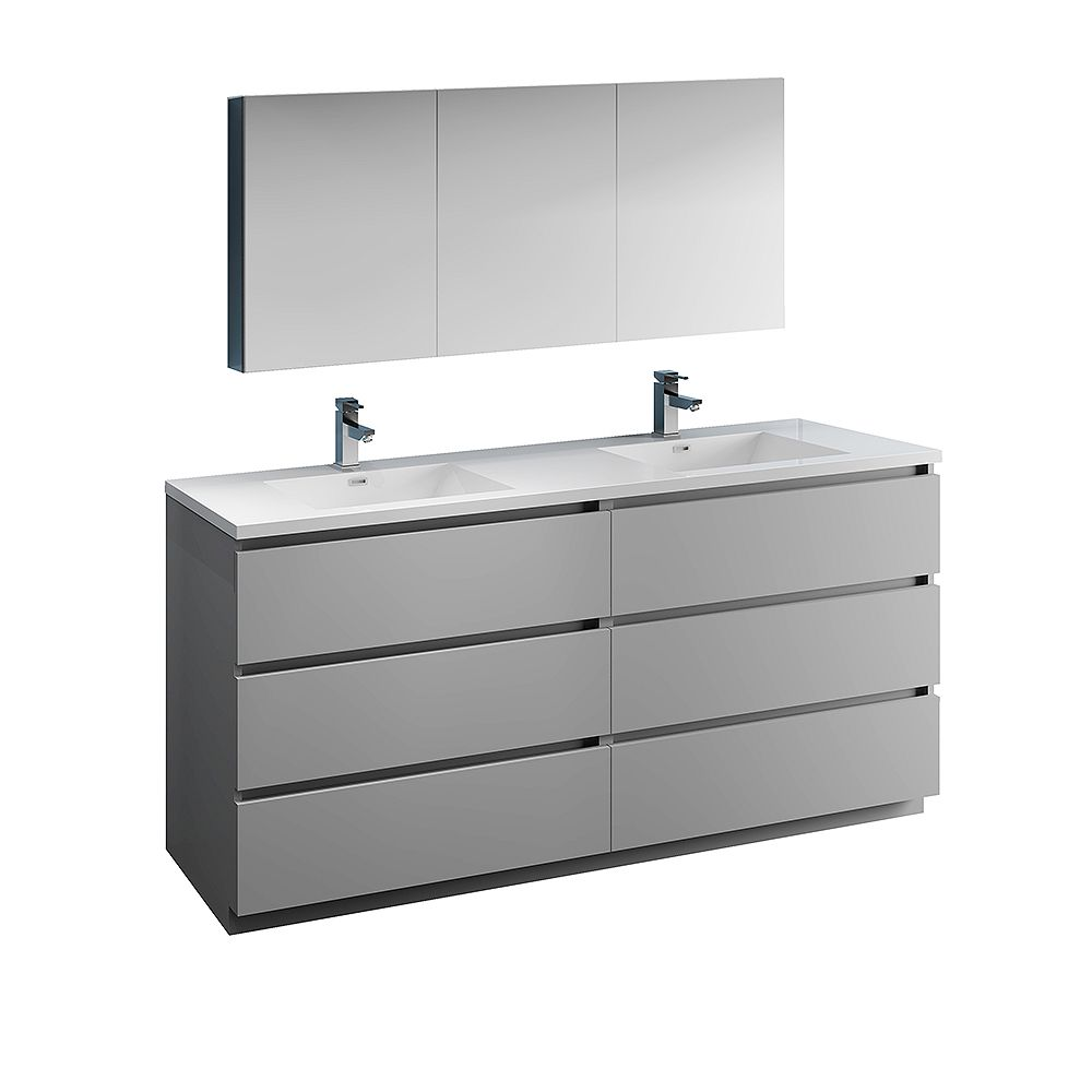 Fresca Lazzaro 72 inch Free Standing Double Vanity in Gray with Acrylic Sink and Medicine Cabinet