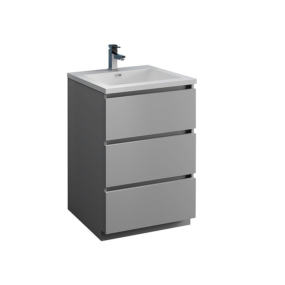Fresca Lazzaro 24 inch Free Standing Modern Bathroom Vanity in Gray with Acrylic Sink in White