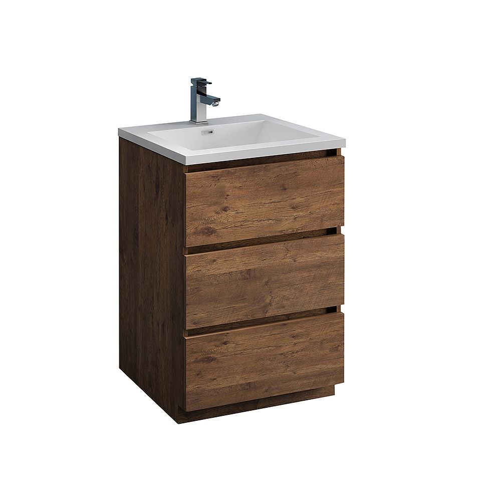 Fresca Lazzaro 24 inch Free Standing Modern Bathroom Vanity in Rosewood with Acrylic Sink in White