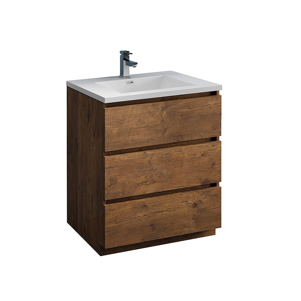 Fresca Lazzaro 30 inch Free Standing Modern Bathroom Vanity in Rosewood with Acrylic Sink in White